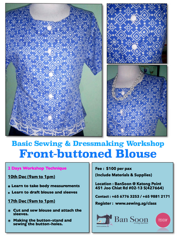 Front-buttoned Blouse Sewing & Dressmaking Workshop