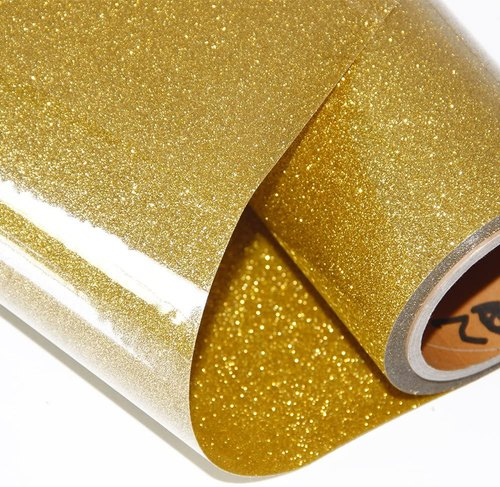 Heat Transfer Glitters Vinyl, 50cm x 100cm in Shimmering Gold and Silver. High quality; Made in Germany.
