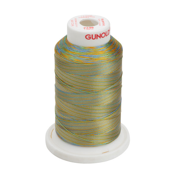 Gunold Multi Colour ( Rainbow ) Embroidery Thread Yellow / Light Blue / Green in a Cone - SULKY 40  - 2246
