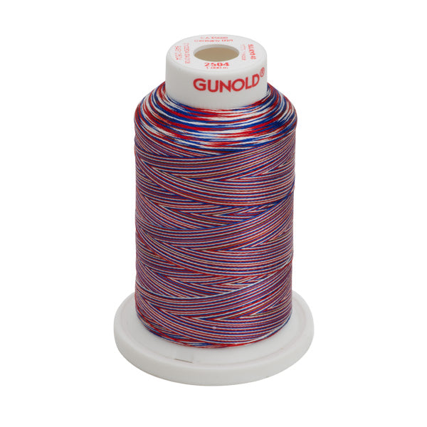 Gunold Multi Colour ( Rainbow ) Embroidery Thread Red / Blue / White in a Cone - SULKY 40  - 2504