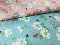 Collection 4 Cotton Fabric Floral Printed 100% cotton, Medium weight, very comfortable on skin, good for Face Mask or as Inner,  1m packing.