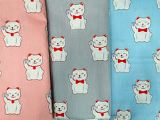 Collection 8 Fortune Cat Cotton Fabric Printed 100% cotton, Medium weight, very comfortable on skin, good for Face Mask, Craft works, Kids Wear,  1m packing.