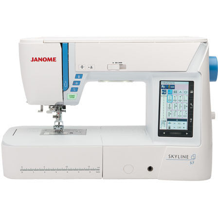 Janome Skyline S7 Multi Purpose Computerised Sewing Machine - User Friendly, Large Throat Space, Well Lit LED Lightings + 2 Years Warranty