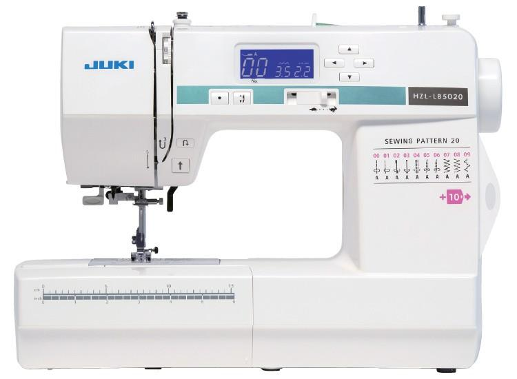 Juki HZL LB 5020 Compact Size Sewing Machine with 20 Stitch Patterns Computer aided sewing machine. Beginner machine, very user friendly and easy to operate, with or without sewing experience. Assisted automatic threading, 20 stitch designs