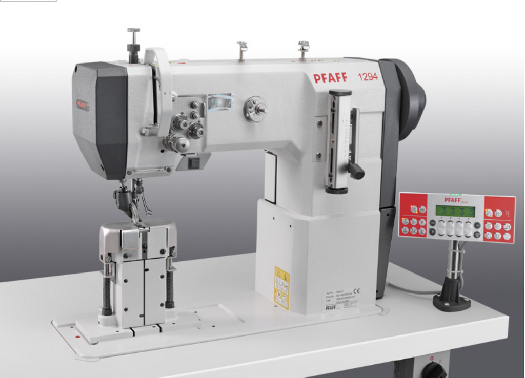 PFAFF 1294-4/01 DL X 2.4 MN (+ 925/03) - Double Needle Large Vertical Hook Roller Presser Driven and Drop Feed Post-bed Machine