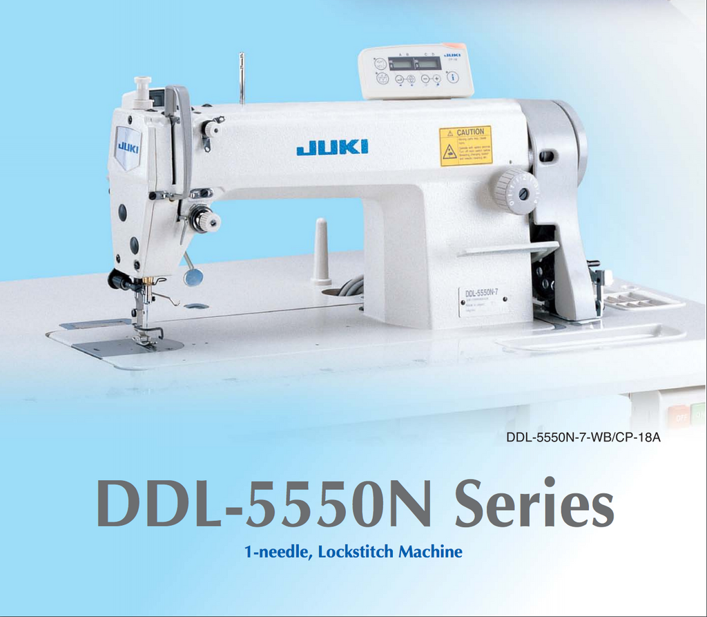 Juki Sewing Machine Complete Set with Table, Stand and Motor. DDL5550N Series Single Needle, Lockstitch Machine. Extremely low noise, low vibration and easily deliver superb stitch quality. Made in Japan
