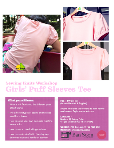 Sewing Knits - Girls' Puff Sleeves Tee Workshop