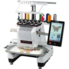 Brother Embroidery Machine Brother PR1050X, 10 Color cylinder bed for Cap, Shoe, Towel and Sleeve embroidery.