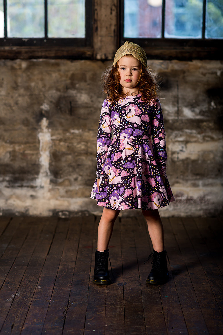 Rock Your Kid - Cosmic Unicorn L/S Waisted Dress - Multi