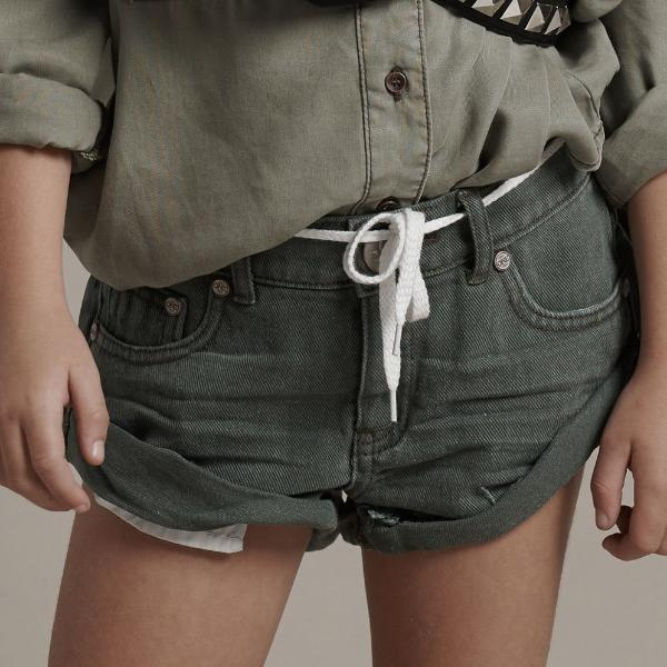 One Teaspoon Kids - Bandit Denim Short - Vintage Khaki Girls Summer Fashion
