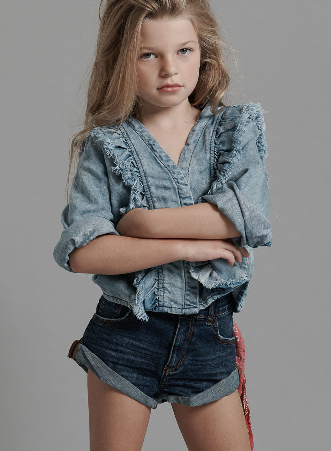 ONETEASPOON Kids - Bandits High Waist Denim Short - Authentic Indigo
