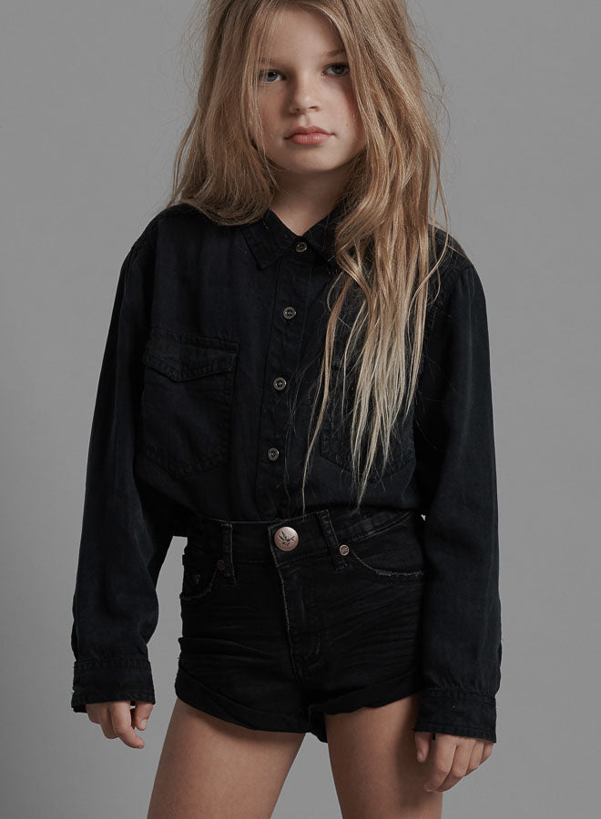ONETEASPOON Kids - Bandits High Waist Denim Short - Black Punk