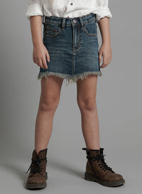 ONETEASPOON Kids - 2020 Mini High Waist Denim Skirt - Dirty Indigo