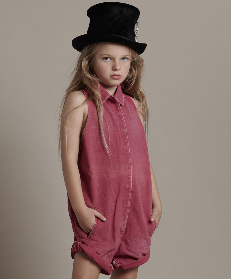 One Teaspoon Kids - Mini Braxton Jumpsuit - Rigid Ruby Girls Summer Fashion Denim