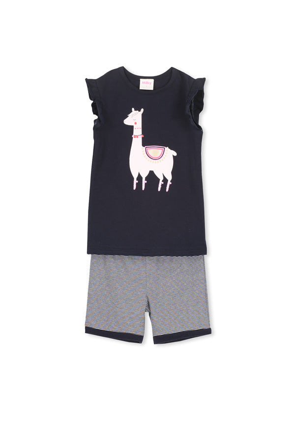 Milky - Llama PJs - French Navy/Super Pink