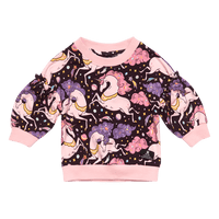 Rock Your Baby - Cosmic Unicorn Baby Puff Sweatshirt - Multi