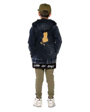 Band of Boys - Sitting Cheetah Hooded Bomber Jacket - Denim Blue