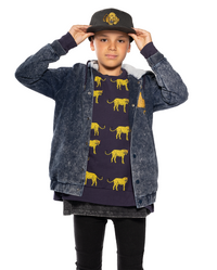 Band of Boys - Yellow  Leopard Oversized Crew - Navy