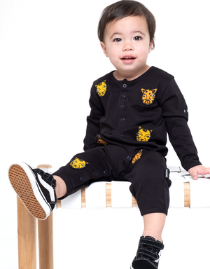 Band of Boys - Organic Baby - Cat Faces Button Front Romper - Black