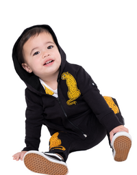Band of Boys - Organic Baby - Sitting Cheetah A-line Zip Hood Crew - Black