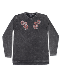 Band of Boys - Bandits - Red Snake L/Sleeved Step Hem Tee - Vintage Black