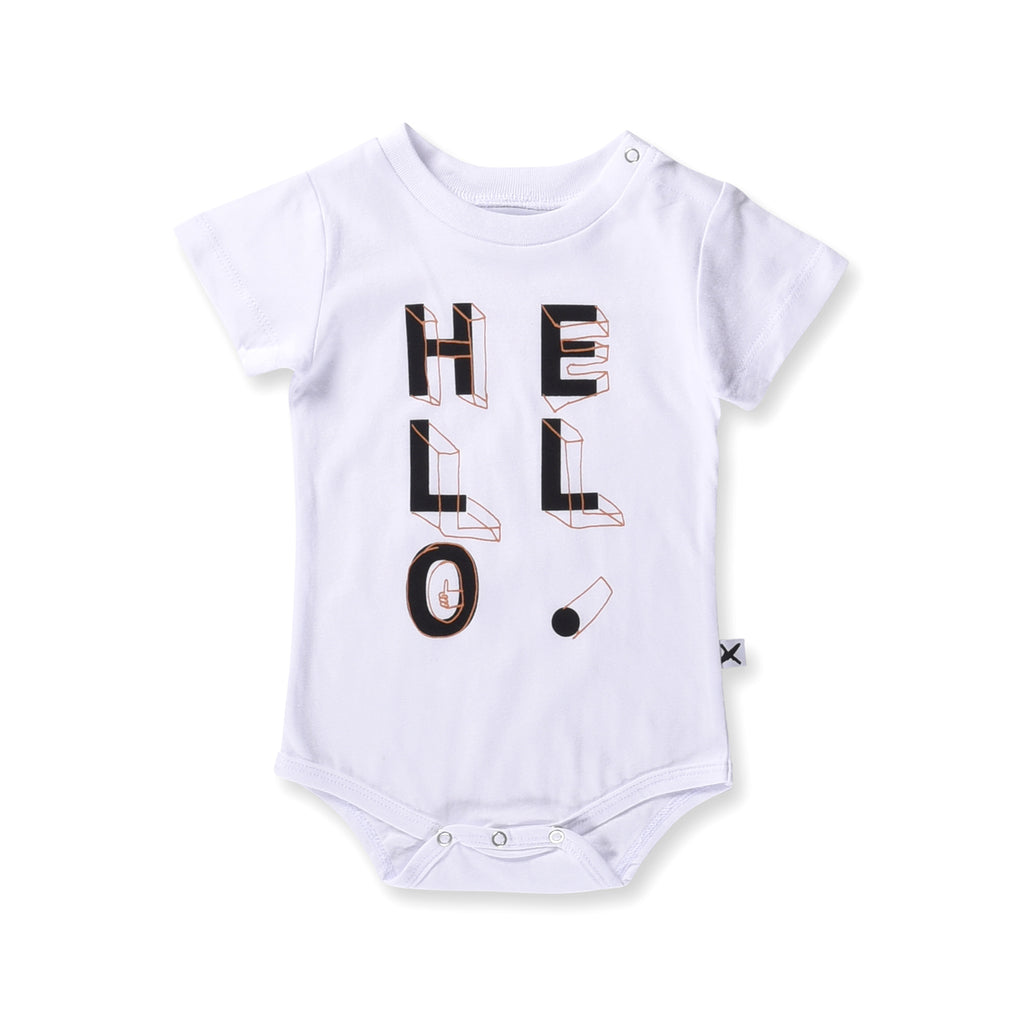Minti Baby - Hello Shapes Onesie - White