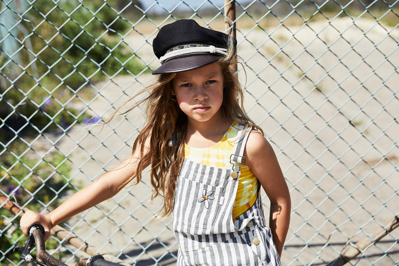 Missie Munster - Project Overall - Grey Stripe girls summer fashion jumpsuit