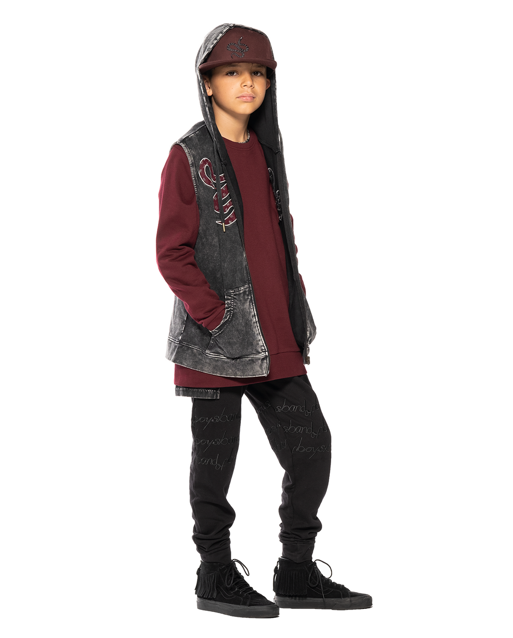 Band of Boys - Bandits - Red Snake Sleeveless Hood - Vintage Black