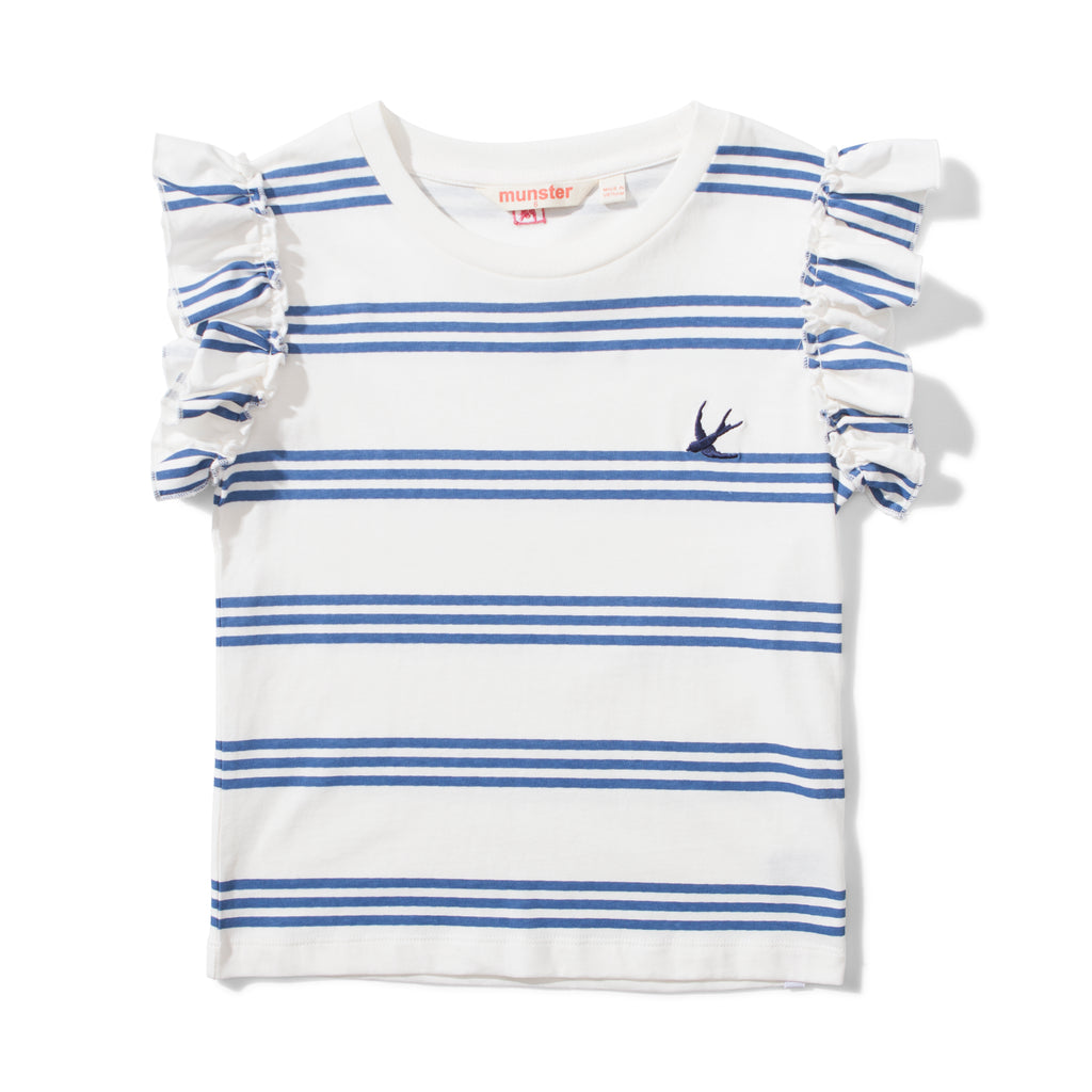Missie Munster - Triple Frills Tee - Navy Stripe summer girls fashion