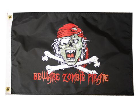 Beware Zombie Pirate Flag-USA