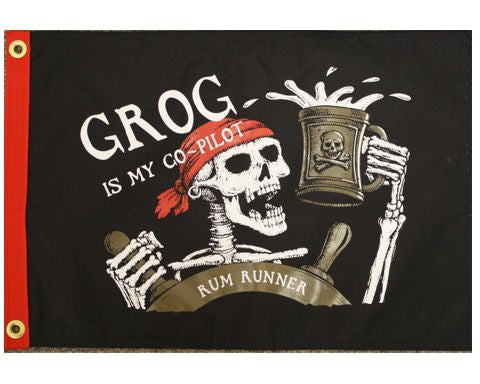Grog Is My Co Pilot Pirate Flag