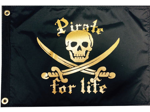 Pirate For Life Black/Gold Flag
