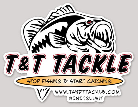 T&T Tackle Die Cut Decal 8x6 - T&T Tackle, Decals  Bass Jigs, Spinner Baits, Swim Jigs, Buzzbaits, Custom, Rod Sleeves, Fish Scent, Bass Tackle, Trapper Hooks, Swing Jigs, Wobble Heads, Bass Tackle, Apparel, Fishing Line, Bass Braid, Fluorocarbon