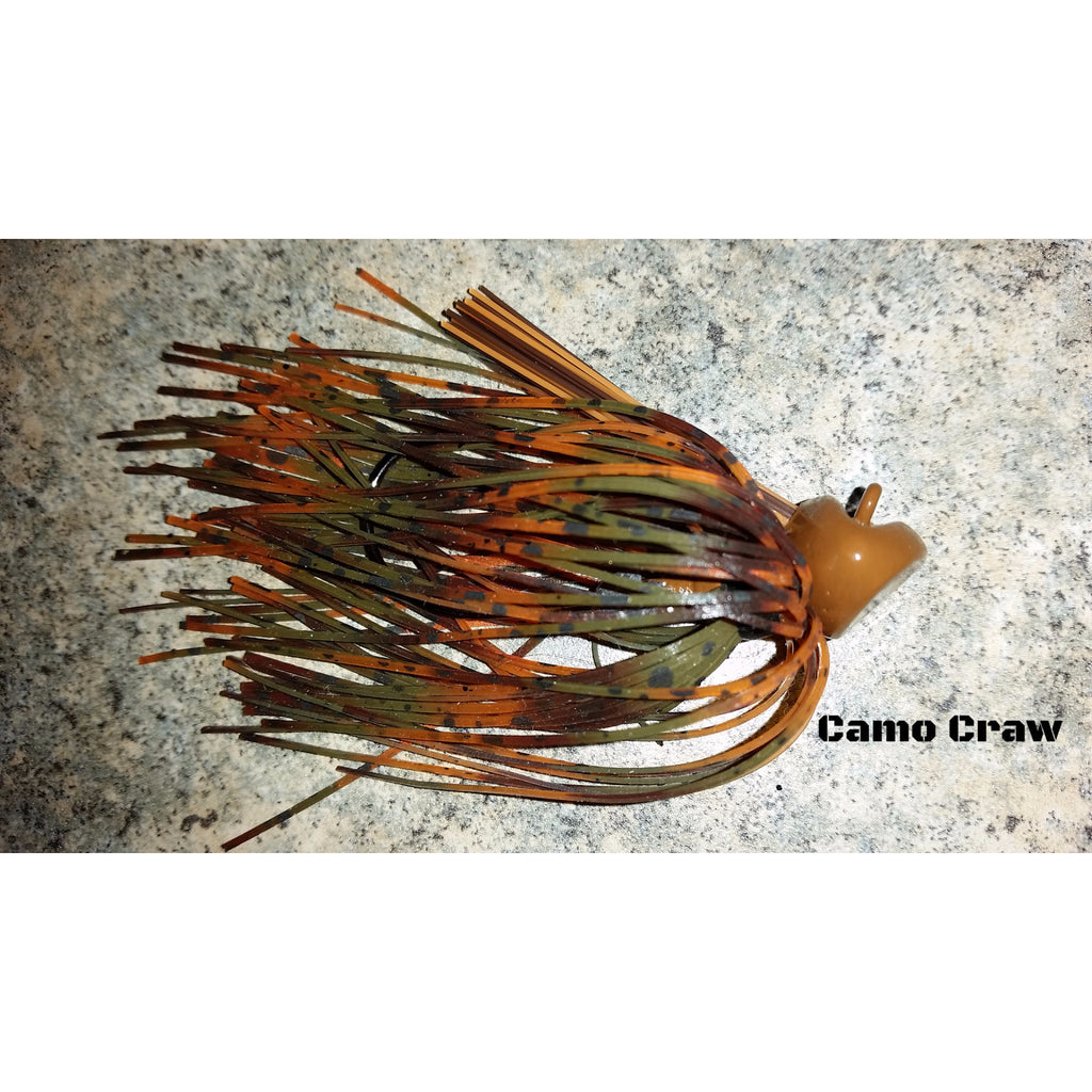 Camo Craw - T&T Tackle, Depth Charge Flippin' Jig  Bass Jigs, Spinner Baits, Swim Jigs, Buzzbaits, Custom, Rod Sleeves, Fish Scent, Bass Tackle, Trapper Hooks, Swing Jigs, Wobble Heads