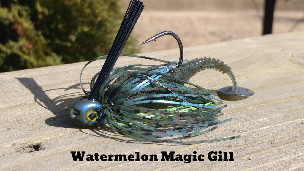 C-4 Swim Jig - Watermelon Magic Gill - T&T Tackle, C-4 Swim Jigs  Bass Jigs, Spinner Baits, Swim Jigs, Buzzbaits, Custom, Rod Sleeves, Fish Scent, Bass Tackle, Trapper Hooks, Swing Jigs, Wobble Heads, Bass Tackle, Apparel, Fishing Line, Bass Braid, Fluorocarbon
