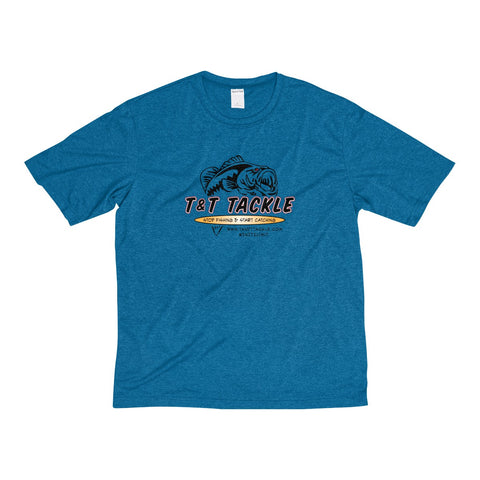 T&T Tackle - Men's Heather Dri-Fit Tee - T&T Tackle, T-Shirt  Bass Jigs, Spinner Baits, Swim Jigs, Buzzbaits, Custom, Rod Sleeves, Fish Scent, Bass Tackle, Trapper Hooks, Swing Jigs, Wobble Heads, Bass Tackle, Apparel, Fishing Line, Bass Braid, Fluorocarbon