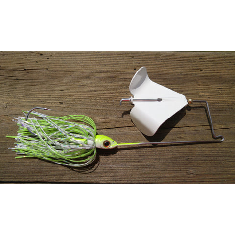 CrossFire Buzzbait - White/Chartruese - T&T Tackle, CrossFire Buzzbaits  Bass Jigs, Spinner Baits, Swim Jigs, Buzzbaits, Custom, Rod Sleeves, Fish Scent, Bass Tackle, Trapper Hooks, Swing Jigs, Wobble Heads