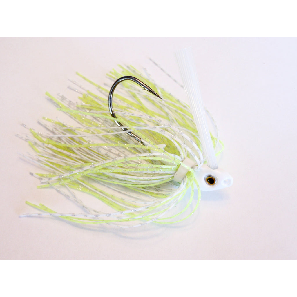 C-4 Swim Jig - White/Chartreuse - T&T Tackle, C-4 Swim Jigs  Bass Jigs, Spinner Baits, Swim Jigs, Buzzbaits, Custom, Rod Sleeves, Fish Scent, Bass Tackle, Trapper Hooks, Swing Jigs, Wobble Heads, Bass Tackle, Apparel, Fishing Line, Bass Braid, Fluorocarbon