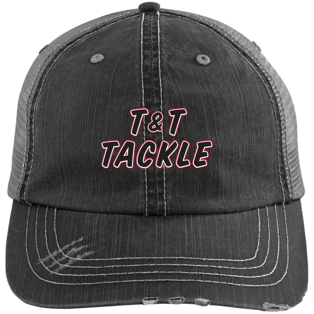 T&T Tackle - Distressed Unstructured Trucker Cap - T&T Tackle, Hats  Bass Jigs, Spinner Baits, Swim Jigs, Buzzbaits, Custom, Rod Sleeves, Fish Scent, Bass Tackle, Trapper Hooks, Swing Jigs, Wobble Heads, Bass Tackle, Apparel, Fishing Line, Bass Braid, Fluorocarbon