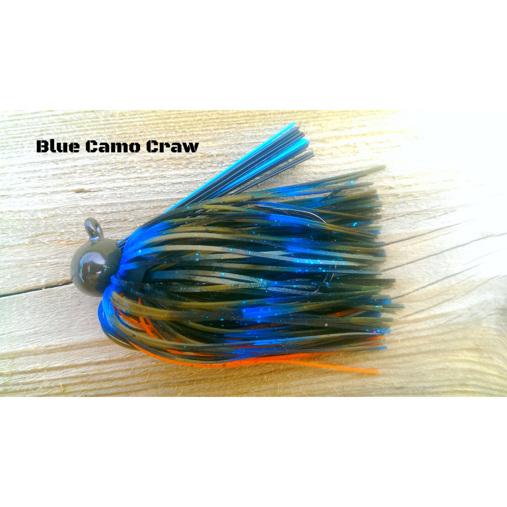 BackDraft Football Jig - Blue Camo Craw - T&T Tackle, BackDraft Football Jigs  Bass Jigs, Spinner Baits, Swim Jigs, Buzzbaits, Custom, Rod Sleeves, Fish Scent, Bass Tackle, Trapper Hooks, Swing Jigs, Wobble Heads, Bass Tackle, Apparel, Fishing Line, Bass Braid, Fluorocarbon
