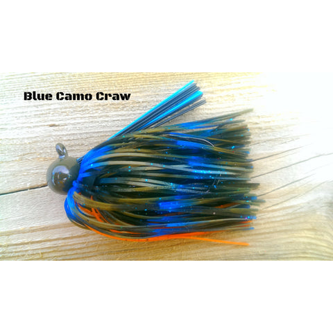 Blue Camo Craw - T&T Tackle, BackDraft Football Jigs  Bass Jigs, Spinner Baits, Swim Jigs, Buzzbaits, Custom, Rod Sleeves, Fish Scent, Bass Tackle, Trapper Hooks, Swing Jigs, Wobble Heads