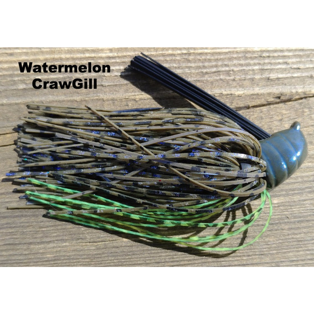 Watermelon CrawGill - T&T Tackle, Depth Charge Flippin' Jig  Bass Jigs, Spinner Baits, Swim Jigs, Buzzbaits, Custom, Rod Sleeves, Fish Scent, Bass Tackle, Trapper Hooks, Swing Jigs, Wobble Heads
