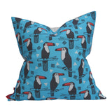 Toucan Linocut Print by Andrea Lauren; Linen-Cotton Pillow 20x20