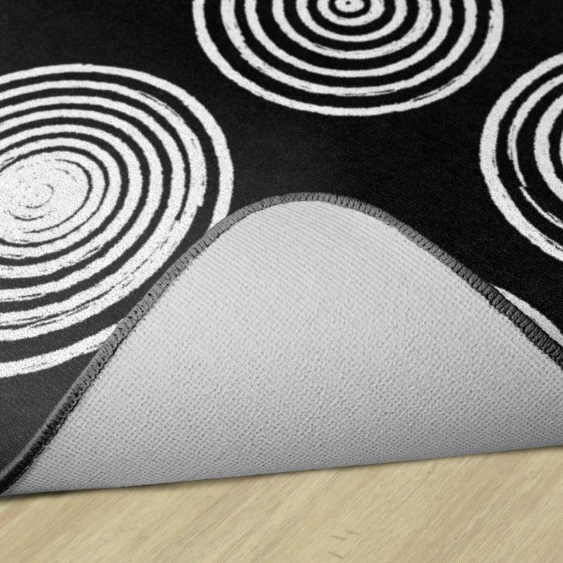 Circles Black and White  Rug