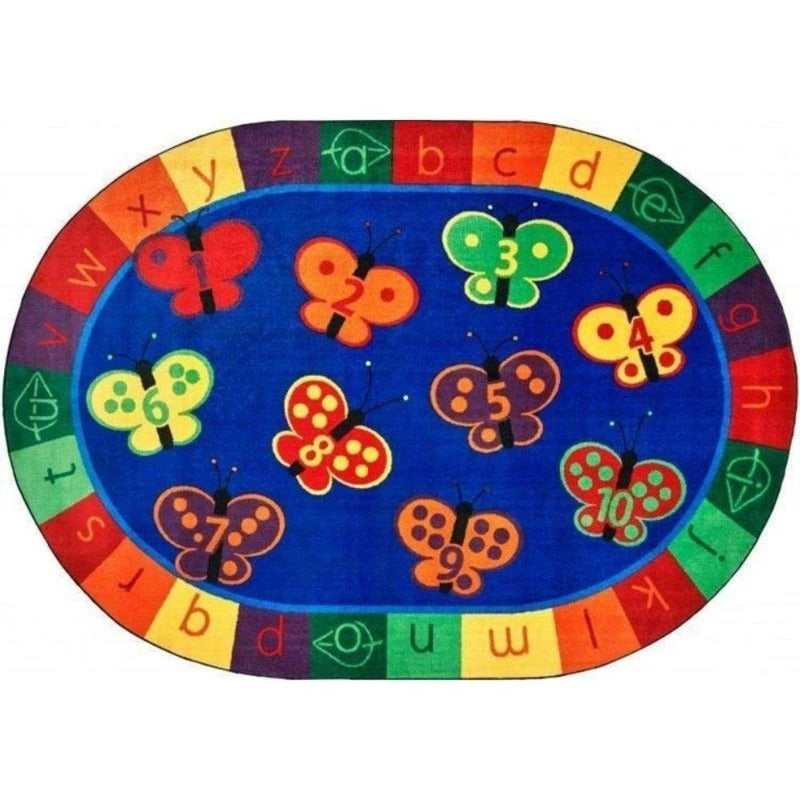 123 ABC Butterfly Fun Oval Rug