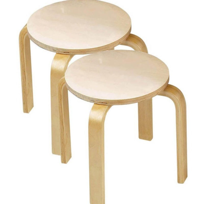 Anatex Set of 2 Wooden Stools