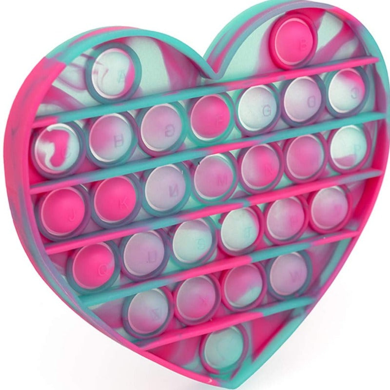 Green And Pink Heart Tie-Dye Glow In The Dark Bubble Popper
