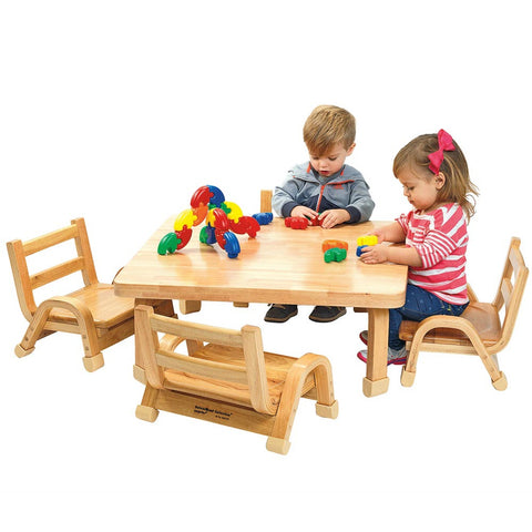 NaturalWood Collection Toddler Square Table & Chair Set