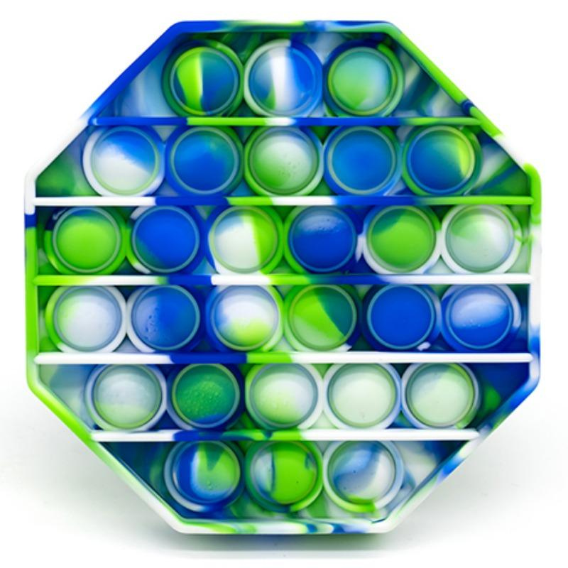 Green, Blue and White Tie-Dye Octagon Bubble Pop