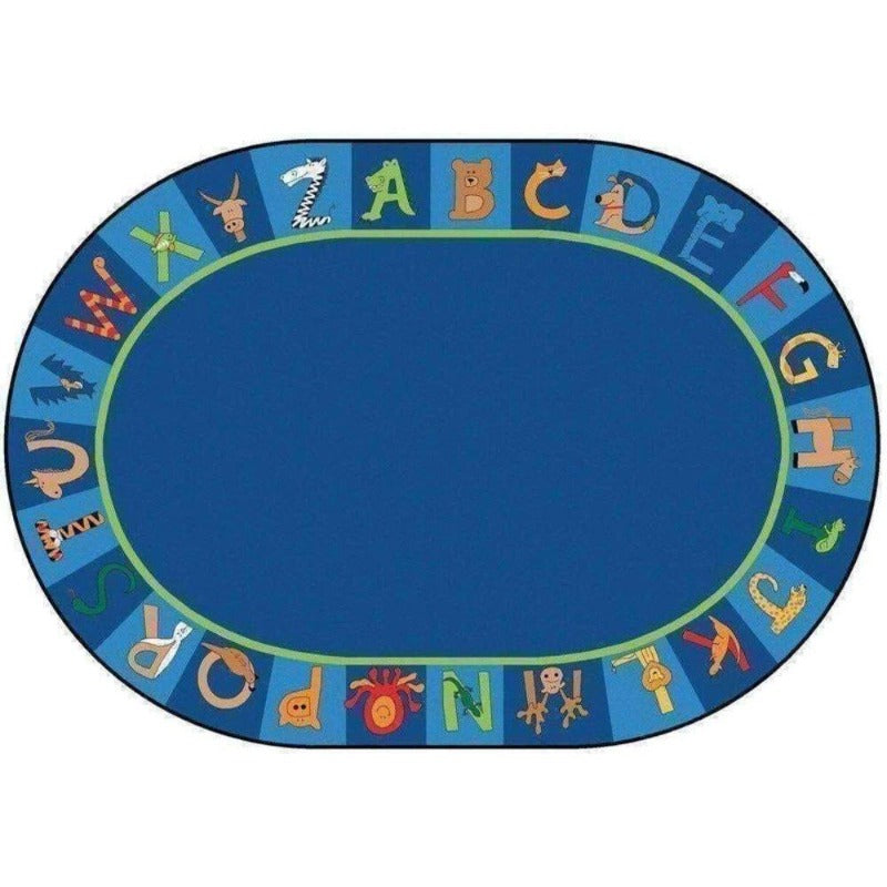 A to Z Animals Oval Rug
